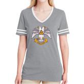 Ladies Grey Heather/White Tri Blend Varsity Tee-Freemasons
