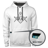 Contemporary Sofspun White Hoodie-Square and Compass with G