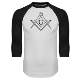 White/Black Raglan Baseball T Shirt-Square and Compass with G