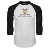 White/Black Raglan Baseball T Shirt-Scottish Rite Lockup