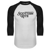 White/Black Raglan Baseball T Shirt-Scottish Rite