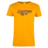 Ladies Gold T Shirt-Scottish Rite Pink Floral