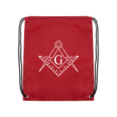 Cardinal Drawstring Backpack-Square and Compass with G