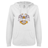 ENZA Ladies White V Notch Raw Edge Fleece Hoodie-Freemasons