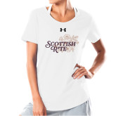 Ladies Under Armour White Charged Cotton Tee-Scottish Rite Mauve Floral