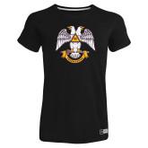 Ladies Russell Black Essential T Shirt-Freemasons
