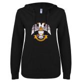 ENZA Ladies Black V Notch Raw Edge Fleece Hoodie-Freemasons