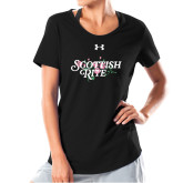 Ladies Under Armour Black Charged Cotton Tee-Scottish Rite Pink Floral
