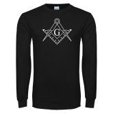 Black Long Sleeve T Shirt-Square and Compass with G