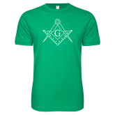 Next Level SoftStyle Kelly Green T Shirt-Square and Compass with G
