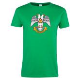Ladies Kelly Green T Shirt-Freemasons