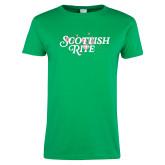 Ladies Kelly Green T Shirt-Scottish Rite Pink Floral