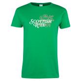Ladies Kelly Green T Shirt-Scottish Rite Mauve Floral