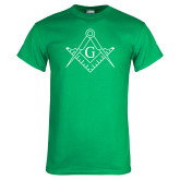 Kelly Green T Shirt-Square and Compass with G