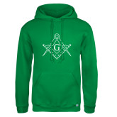 Russell DriPower Kelly Green Fleece Hoodie-Square and Compass with G