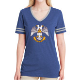Ladies Royal Heather/Grey Tri Blend Varsity Tee-Freemasons