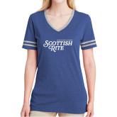 Ladies Royal Heather/Grey Tri Blend Varsity Tee-Scottish Rite