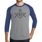 Grey/Royal Heather Tri Blend Baseball Raglan-Square and Compass with G