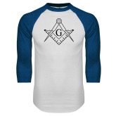 White/Royal Raglan Baseball T Shirt-Square and Compass with G