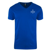 Next Level V Neck Royal T Shirt-Square and Compass with G