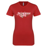 Next Level Ladies SoftStyle Junior Fitted Red Tee-Scottish Rite Pink Floral