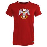 Ladies Russell Red Essential T Shirt-Freemasons