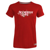Ladies Russell Red Essential T Shirt-Scottish Rite Pink Floral