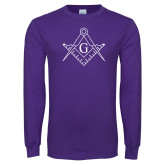 Purple Long Sleeve T Shirt-Square and Compass with G