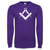 Purple Long Sleeve T Shirt-Square and Compass