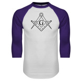 White/Purple Raglan Baseball T Shirt-Square and Compass with G