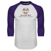 White/Purple Raglan Baseball T Shirt-Scottish Rite Lockup