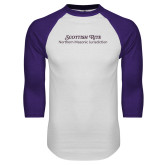 White/Purple Raglan Baseball T Shirt-Scottish Rite Wordmark