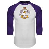 White/Purple Raglan Baseball T Shirt-Deus Meumque Jus