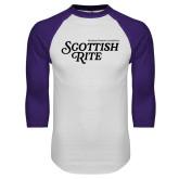 White/Purple Raglan Baseball T Shirt-Scottish Rite