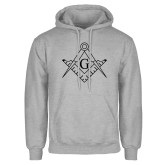 Grey Fleece Hoodie-Square and Compass with G