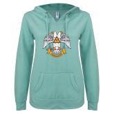 ENZA Ladies Seaglass V Notch Raw Edge Fleece Hoodie-Freemasons