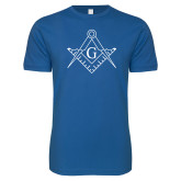 Next Level SoftStyle Royal T Shirt-Square and Compass with G