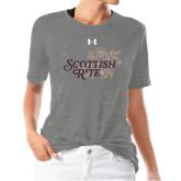Ladies Under Armour Heather Grey Triblend Tee-Scottish Rite Mauve Floral