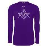 Under Armour Purple Long Sleeve Tech Tee-Square and Compass with G