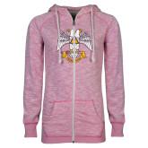 ENZA Ladies Hot Pink Marled Full Zip Hoodie-Freemasons