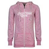 ENZA Ladies Hot Pink Marled Full Zip Hoodie-Scottish Rite