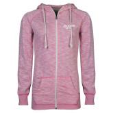 ENZA Ladies Hot Pink Marled Full Zip Hoodie-Scottish Rite Pink Floral