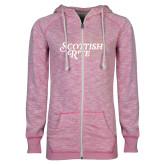 ENZA Ladies Hot Pink Marled Full Zip Hoodie-Scottish Rite Mauve Floral