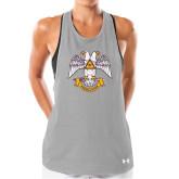 Ladies Under Armour Grey Pinhole Tank-Freemasons