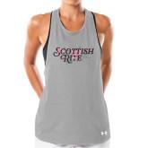 Ladies Under Armour Grey Pinhole Tank-Scottish Rite Pink Floral