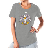 Ladies Under Armour Grey Charged Cotton Tee-Freemasons