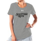 Ladies Under Armour Grey Charged Cotton Tee-Scottish Rite