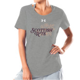 Ladies Under Armour Grey Charged Cotton Tee-Scottish Rite Mauve Floral