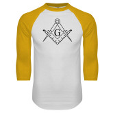 White/Gold Raglan Baseball T Shirt-Square and Compass with G