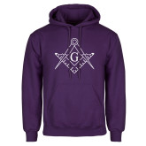 Purple Fleece Hoodie-Square and Compass with G